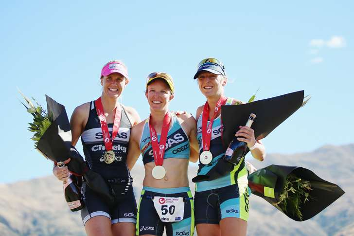 SOAS Podium at Challenge Wanaka (Photo: Challenge Wanaka / Getty Images)