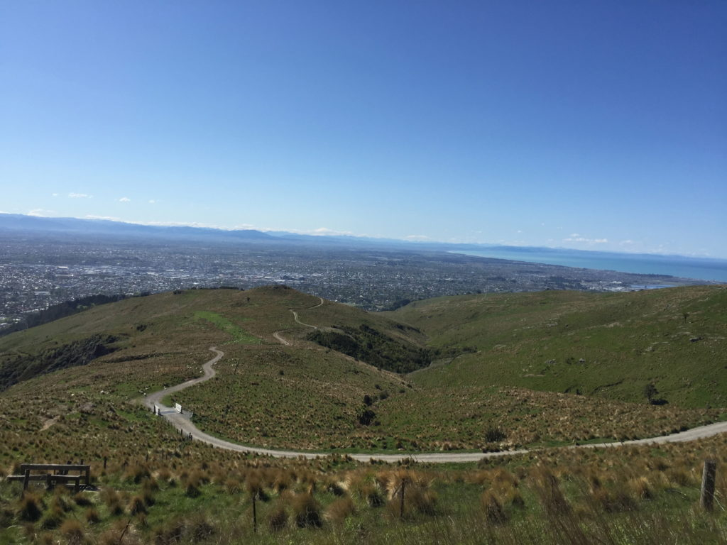 Only just off the flight and out on the bike exploring the Port Hills over looking Chirstchurch