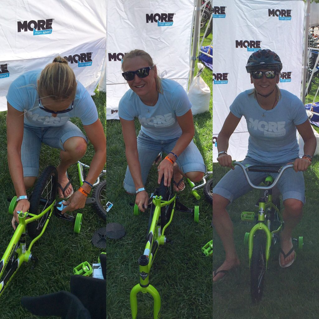 Having fun building bikes with More Than Sport - to give away to local kids