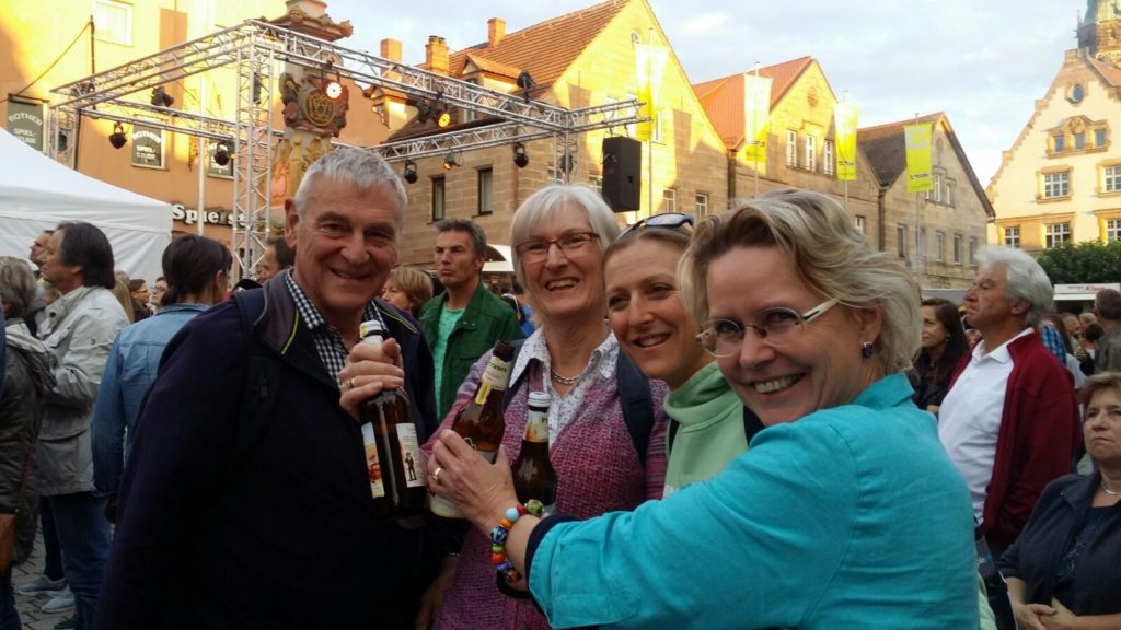 Celebrating with the locals in the town square. Live music and beer!